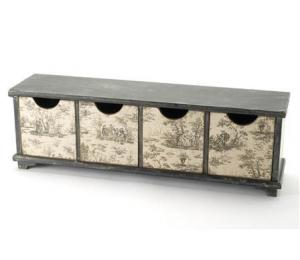 Toile de Jouy Small Four Long Drawer Unit