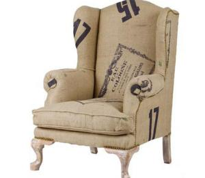 The Vintage Look Hop Sack Wing Armchair