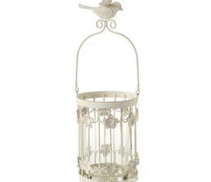 H S Garden Cream Lantern With Bird
