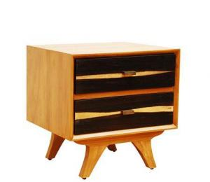 Artisanti Two Tone Mid Century 2 Drawer Side Table